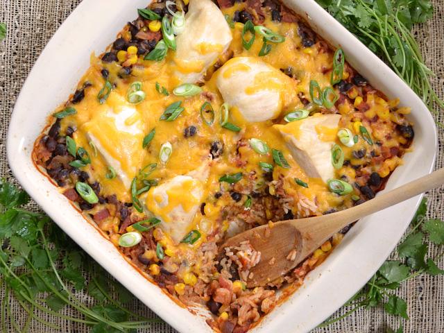 Salsa Chicken Casserole spoon